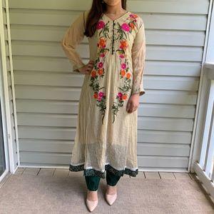 Floral Embroidered Indian/Pakistani Anarkali Suit